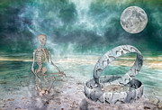Dreamworld Digital Art - Sam Meditates with Time One of Two by Betsy A Cutler East Coast Barrier Islands