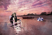 Cloudy Day Digital Art - Sam Takes a Break from Kayaking by Betsy A Cutler East Coast Barrier Islands