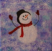 Jane Chesnut Framed Prints - Sam the Snowman Framed Print by Jane Chesnut