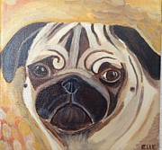 Fawn Pug Paintings - Samba by Elle Alves