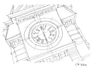 University Campus Buildings Drawings Drawings - Samford Clock Study by Calvin Durham