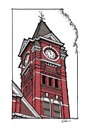Alabama Drawings Prints - Samford Hall Clock Tower Print by Calvin Durham