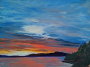 Reflecting Water Pastels Prints - Samish Bay At Dusk Print by Pamela Heward