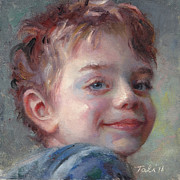 Portrait Artists Framed Prints - Sammy in Blue - portrait of a boy Framed Print by Talya Johnson