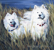 River View Paintings - Samoyed Dogs by Natasha Denger