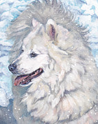 Snow Dog Posters - Samoyed Poster by Lee Ann Shepard