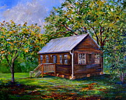 Old School House Painting Posters - Sams Cabin Poster by AnnaJo Vahle
