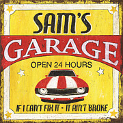 Family Car Prints - Sams Garage Print by Debbie DeWitt