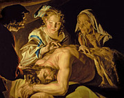 Deceit Painting Prints - Samson and Delilah Print by Matthias Stomer