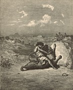 Samson Slaying The Lion Print by Antique Engravings