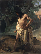 Francesco Painting Posters - Samson Slays the Lion Poster by Francesco Hayez