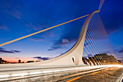 Samuel Photo Posters - Samuel Beckett Bridge at Night / Dublin Poster by Barry O Carroll