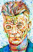 Samuel Drawings Framed Prints - SAMUEL BECKETT - colored pens portrait Framed Print by Fabrizio Cassetta