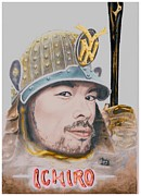 Baseballplayer Mixed Media Prints - Samurai Ichiro Print by Bas Van Sloten