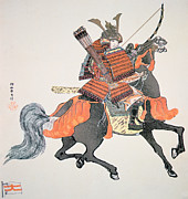 Woodblock Posters - Samurai Poster by Japanese School
