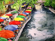 River Walk Paintings - San Antonio River Walk by Tom Riggs