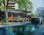 Riverwalk Paintings - San Antonio Riverwalk Cafe by Stefon Marc Brown