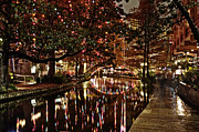 Riverwalk Prints - San Antonio riverwalk decorated with shiny lights at night refle Print by Alan Tonnesen