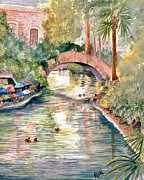 Brick Paintings - San Antonio Riverwalk by Marilyn Smith