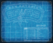 Basketball Playoffs Prints - San Antonio Spurs Blueprint Print by Joe Myeress
