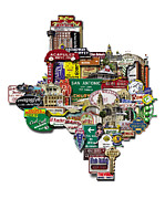 Photomontage Digital Art - San Antonio Texas Shaped Photomontage by Carl Crum