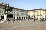 Turin Photo Prints - San Carlo Square in Turin Print by Valentino Visentini