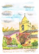 No People Painting Framed Prints - San Carlos Mission - California Framed Print by Carlos G Groppa