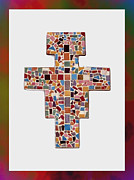 Religious Mosaic Mixed Media Posters - San Damiano Mosaic Cross  Poster by Curtis W Johnson