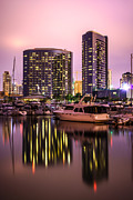 Condos Prints - San Diego at Night at Embarcadero Marina Print by Paul Velgos