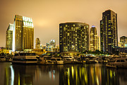 Condos Framed Prints - San Diego at Night with Luxury Yachts Framed Print by Paul Velgos