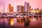 Condos Framed Prints - San Diego at Night with Skyline and Marina Framed Print by Paul Velgos