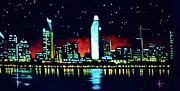 San Diego By Black Light Print by Thomas Kolendra