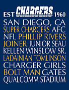 Word Art Art - San Diego Chargers by Jaime Friedman