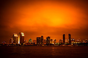 Tint Prints - San Diego Cityscape at Night Print by Paul Velgos