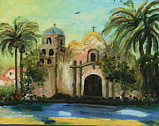 Religious Art Painting Framed Prints - San Diego Mission Church Framed Print by Cecilia  Brendel