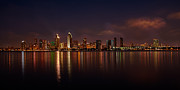 Location Framed Prints - San Diego Night Skyline Framed Print by Peter Tellone