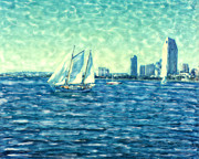 Surf Photos Art Originals - San Diego Schooner by Glenn McNary