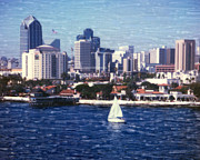 Surf Photos Art Originals - San Diego Seaport Village by Glenn McNary