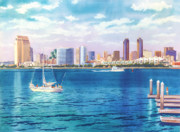 Skyline Painting Posters - San Diego Skyline and Convention Ctr Poster by Mary Helmreich