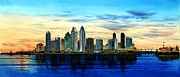 Hotel Paintings - San Diego Skyline And Coronado At Dusk U.s.a by John YATO