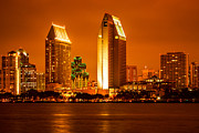 High Rises Posters - San Diego Skyline at Night along San Diego Bay Poster by Paul Velgos