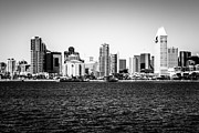 San Diego Bay Prints - San Diego Skyline Buildings in Black and White Print by Paul Velgos