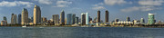 Skylines Photos - San Diego Skyline Daytime Panoramic by Adam Romanowicz