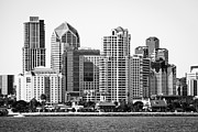 Condos Posters - San Diego Skyline in Black and White Poster by Paul Velgos