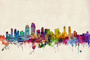 California Prints - San Diego Skyline Print by Michael Tompsett