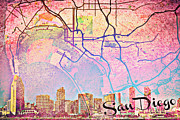 Vintage Map Mixed Media Framed Prints - San Diego Skyline Trolley Framed Print by Brandi Fitzgerald