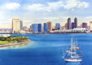 Sail Boat Paintings - San Diego Skyline with Meridien by Mary Helmreich