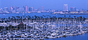 Harbors Framed Prints - San Diego Twilight Framed Print by Sandra Bronstein