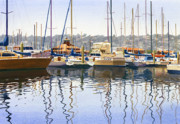 Sail Boats Painting Posters - San Diego Yacht Club Poster by Mary Helmreich