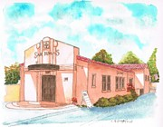 Watercolors Painting Originals - San Dimas Rail Road Museum - California by Carlos G Groppa